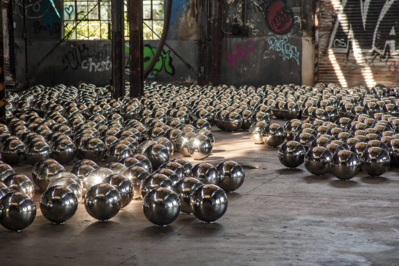 Yayoi Kusama - Narcissus Garden, 1,500 mirrored stainless steel spheres, Rockaway, Gateway National Recreation Area at Fort Tilden, New York