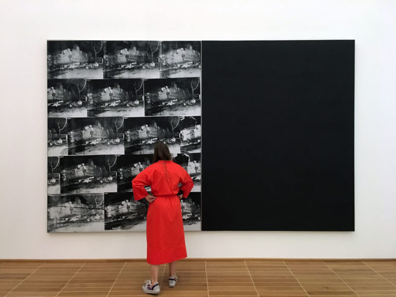 Andy Warhol - Black and White Disaster #4 (5 Deaths 17 Times in Black and White), 1963, acrylic, silkscreen ink and pencil on linen, installation view, Kunstmuseum Basel, 2018