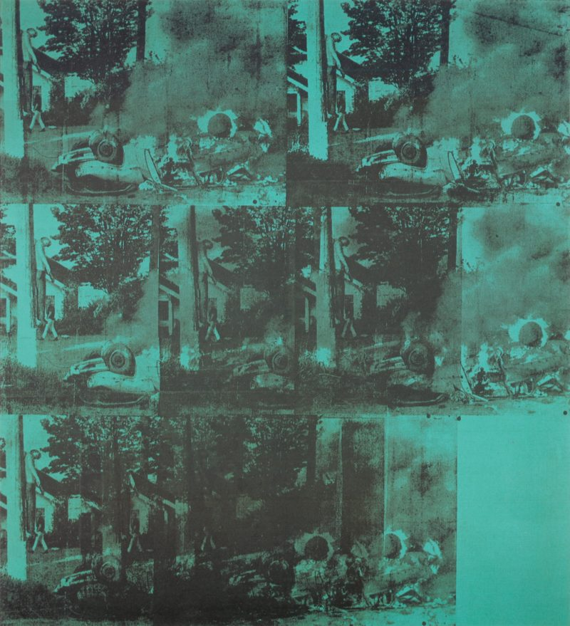 Andy Warhol - Green Car Crash, 1963 (detail), acrylic and silkscreen ink on linen, 90 x 80 inches (228.6 x 203.3 cm)