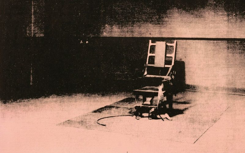 Andy Warhol - Little Electric Chair, 1964-1965, acrylic and silkscreen ink on linen, 55.9 x 71.1 cm (22 x 28 in)