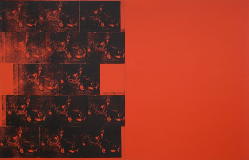 Andy Warhol - Orange Car Crash Fourteen Times, 1963, silkscreen ink on synthetic polymer paint on two canvases, 268.9 x 416.9 cm (8' 9 7/8 x 13' 8 1/8 in)