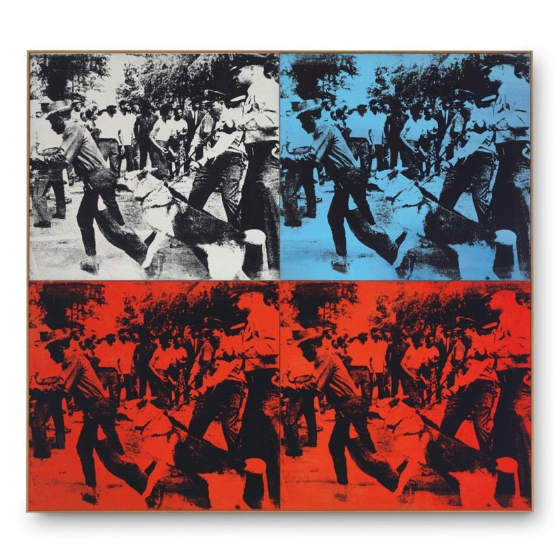 Andy Warhol - Race Riot, 1964, acrylic and silkscreen ink on linen, in four parts, overall 152.4 x 167.6 cm (60 x 66 in)