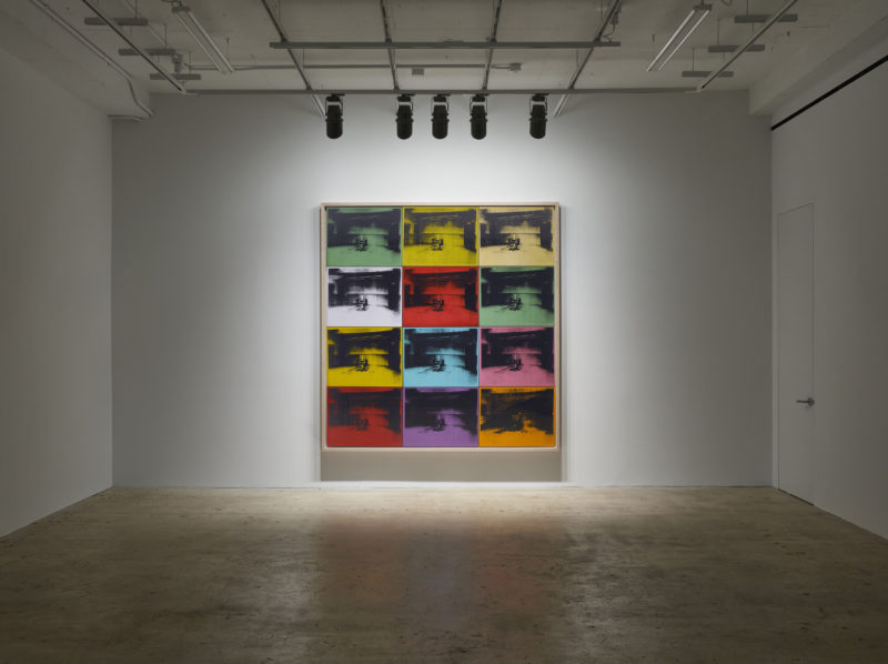 Andy Warhol - Twelve Electric Chairs, 1964, Synthetic polymer paint and silkscreen ink on canvas, 88 1/2 x 84 1/4 inches