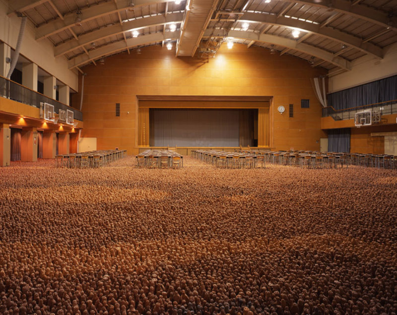 Antony Gormley - Asian Field, 2003, clay from Guangdong Province, China, 210,000 hand-sized clay elements  installation view, Johnan High School, Tokyo