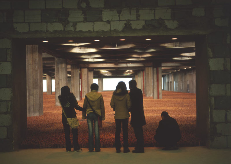 Antony Gormley - Asian Field, 2003, clay from Guangdong Province, China, 210,000 hand-sized clay elements, installation view, Modern Mall, Jiangbei District, Chongqing, China
