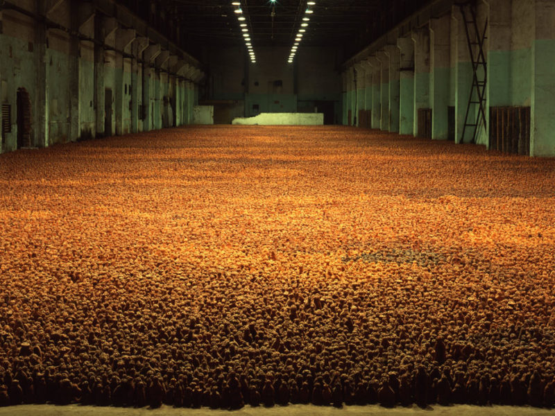 Antony Gormley - Asian Field, 2003, clay from Guangdong Province, China, 210,000 hand-sized clay elements  installation view, Warehouse of Former Shanghai No. 10 Steelworks, 2003
