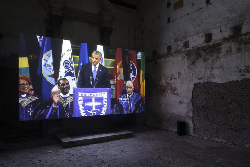 Barack Obama in Arthur Jafa's Love Is The Message, The Message Is Death, Sant'Andrea de Scaphis, Rome, 2018, photo Roberto Apa