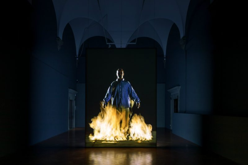 Bill Viola - The Crossing, 1996, two-channel color video installation, four channels of sound, 10 min 57 sec, performer Phil Esposito