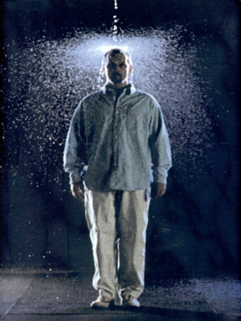 Bill Viola - The Crossing, 1996, two-channel color video installation, four channels of sound, 10 min 57 sec, performer Phil Esposito, arabeschi.it