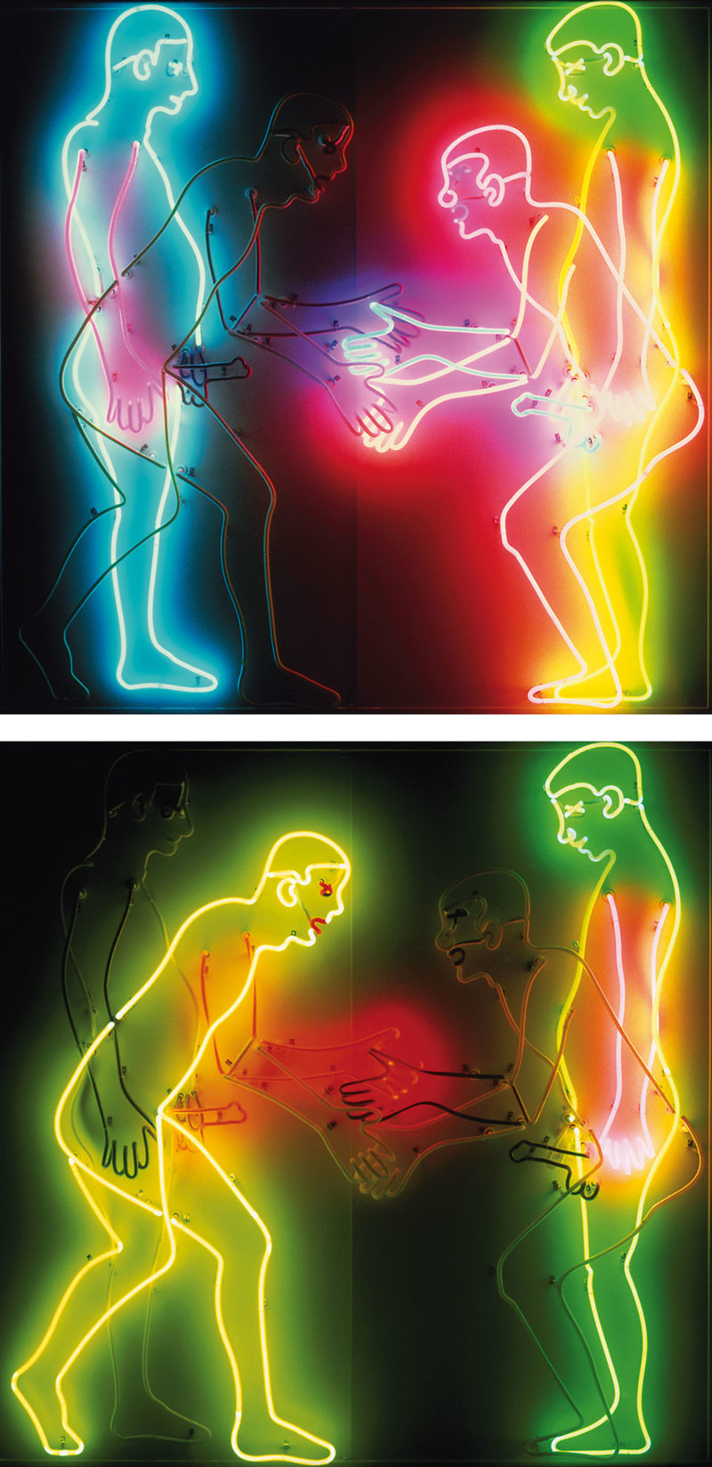 Bruce Nauman - Welcome (Shaking Hands), 1985, neon and glass tubing, 182.8 x 182.8 x 25.4 cm