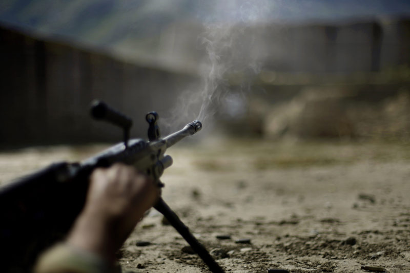 David Guttenfelder – Afghanistan - Afghan National Army soldiers train on a firing range at a U.S. army base in the Pech Valley of Afghanistan's Kunar province Sunday, November 1, 2009