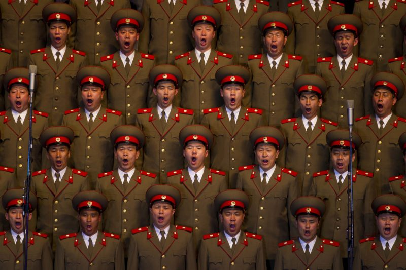 David Guttenfelder - A North Korean choir sings during a concert in Pyongyang on Monday April 16, 2012 to commemorate 100 years since the birth of Kim Il Sung