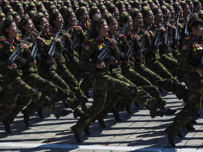 David Guttenfelder - North Korean military goose-step on Kim Il Sung Square in Pyongyang during a mass military parade to mark its 70th anniversary as a nation