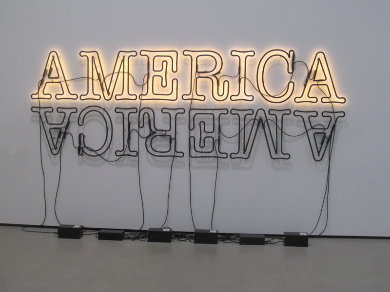 Glenn Ligon - Double America 2, 2014, neon and paint, installation view, Broad Museum