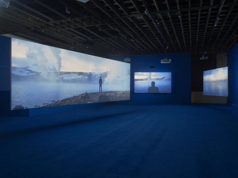 Ingvar Eggert Sigurosson in Isaac Julien's Playtime, 2014, Seven screen ultra high definition video installation with 7.1 surround sound, 66 min 57 sec, Victoria Miro, London, 2014