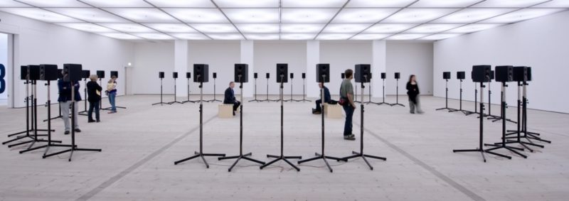 "Janet Cardiff - The Forty Part Motet (A reworking of ""Spem in Alium,"" by Thomas Tallis 1556), 2001, 40-channel audio installation with speakers and stands, BALTIC Centre for Contemporary Art, 2012, photo: Colin Davison"