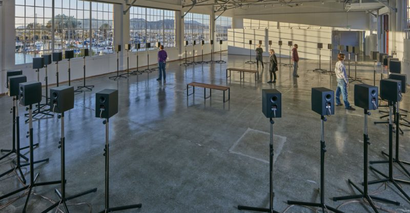 "Janet Cardiff - The Forty Part Motet (A reworking of ""Spem in Alium,"" by Thomas Tallis 1556), 2001, 40-channel audio installation with speakers and stands"
