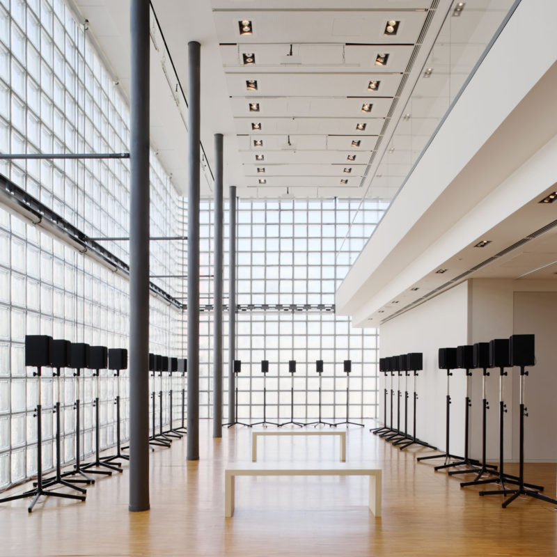 "Janet Cardiff - The Forty Part Motet (A reworking of ""Spem in Alium,"" by Thomas Tallis 1556), 2001, 40-channel audio installation with speakers and stands, Maison Hermes, Ginza, Tokyo, 2009"
