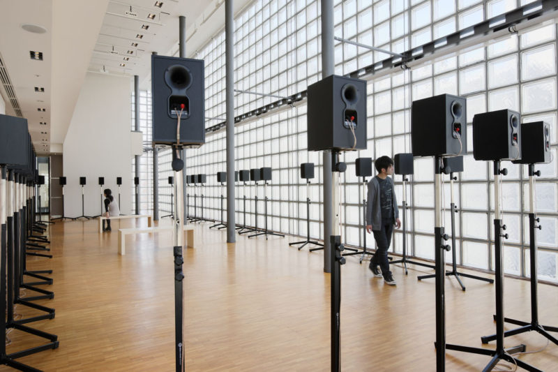 "Janet Cardiff - The Forty Part Motet (A reworking of ""Spem in Alium,"" by Thomas Tallis 1556), 2001, 40-channel audio installation with speakers and stands, Maison Hermes, Ginza, Tokyo, 2009."