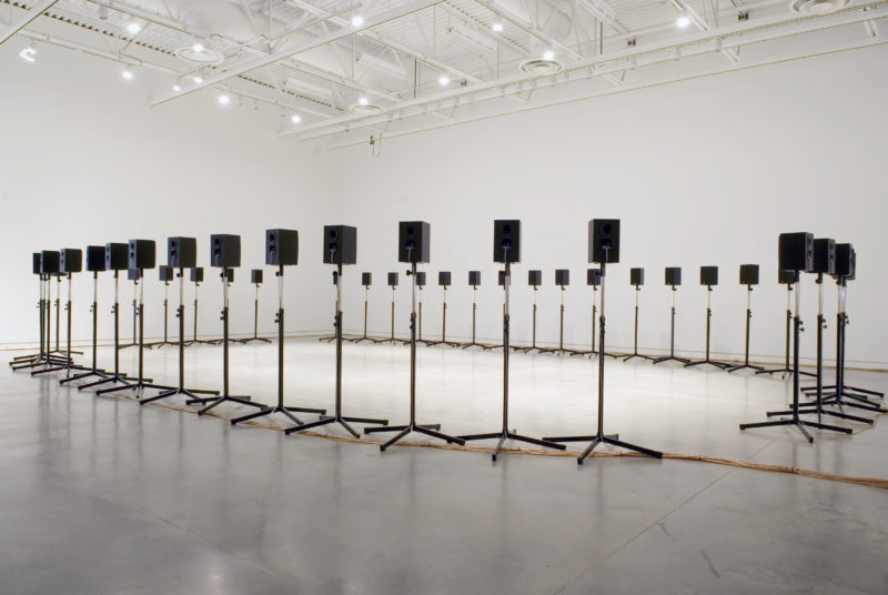 "Janet Cardiff - The Forty Part Motet (A reworking of ""Spem in Alium,"" by Thomas Tallis 1556), 2001, 40-channel audio installation with speakers and stands, Surrey Art Gallery, 2008"
