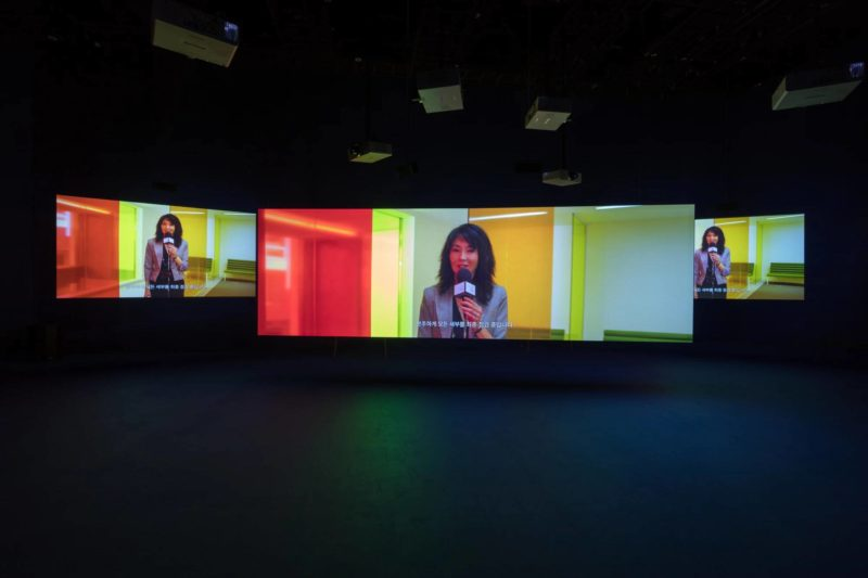 Maggie Cheung in Isaac Julien's Playtime, 2014, Seven screen ultra high definition video installation with 7.1 surround sound, 66 min 57 sec, Platform-L Contemporary Art Center, Seoul, 2017