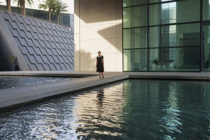 Mercedes Cabral in Isaac Julien's Playtime, 2014, Seven screen ultra high definition video installation with 7.1 surround sound, 66 min 57 sec.
