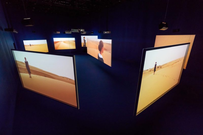 Mercedes Cabral in Isaac Julien's Playtime, 2014, Seven screen ultra high definition video installation with 7.1 surround sound, 66 min 57 sec, Platform-L Contemporary Art Center, Seoul, 2017