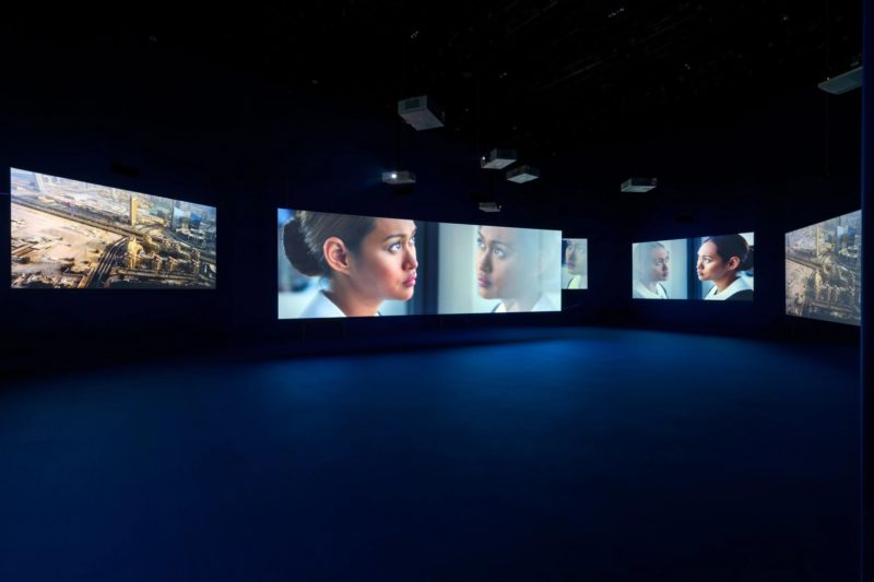 Mercedes Cabral in Isaac Julien's Playtime, 2014, Seven screen ultra high definition video installation with 7.1 surround sound, 66 min 57 sec, Platform-L Contemporary Art Center, Seoul, 2017.