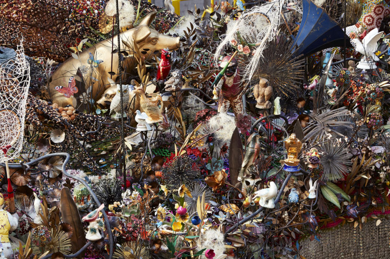 Nick Cave - Crystal Cloudscape, thousands of crystals, beads, found objects and a few chandeliers, 12m long, 6m wide, with four ladders to view artwork from top level