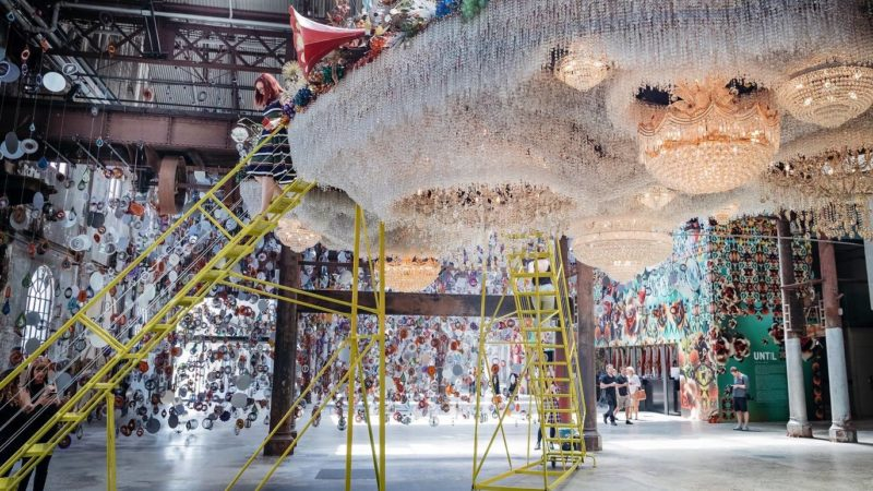 Nick Cave - Crystal Cloudscape, thousands of crystals, beads, found objects and a few chandeliers, 12m long, 6m wide, with four ladders to view artwork from top level, Carriageworks, Sydney, Australia