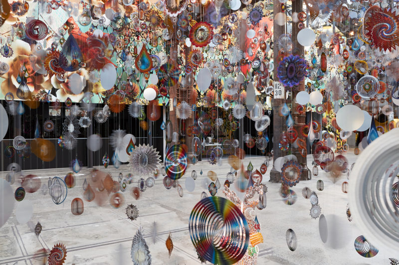Nick Cave - Kinetic Spinner Forest, 16,000 hanging mobiles made from metallic spinning garden ornaments