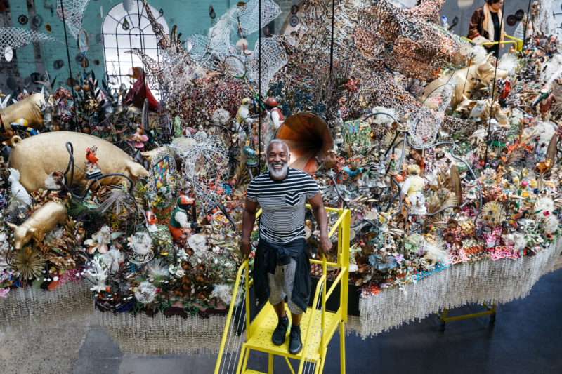 Portrait of Nick Cave in front of his installation Until at Carriageworks, Sydney, Australia