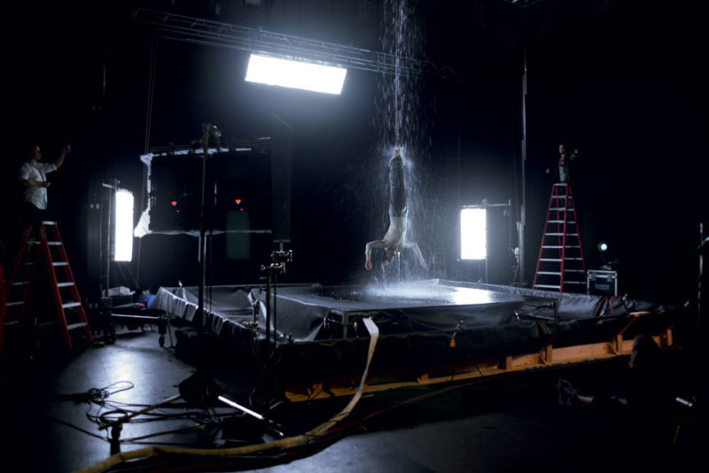 Production still of Bill Viola's Martyrs (Earth, Air, Fire, Water), 2014