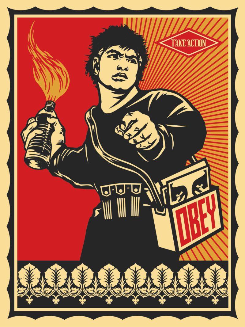Shepard Fairey / Obey - Molotov Man, 2006 inspired by Susan Meiselas' Molotov Man