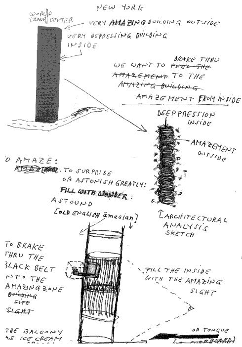 Sketch of Gelitin - The B-Thing, March 2000, installation, 91st Floor of WTC 1