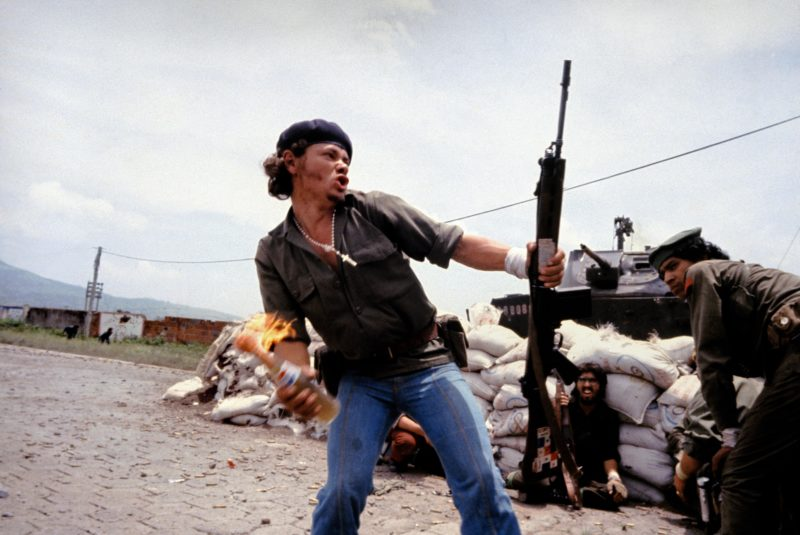 Susan Meiselas - Molotov Man, showing Sandinistas at the walls of the National Guard headquarters, Estelí, Nicaragua, July 16, 1979