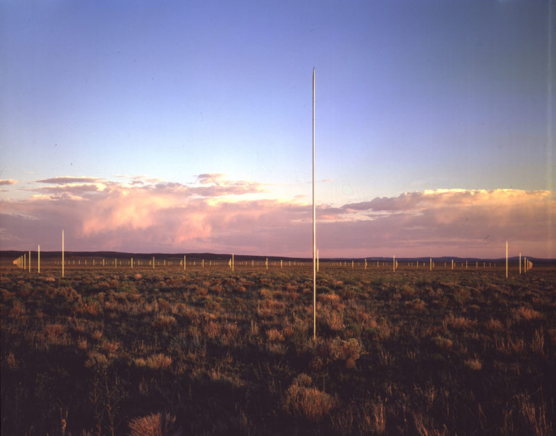 Walter De Maria - The Lightning Field, 1977, 400 stainless steel poles with solid, pointed tips, arranged in a rectangular 1 mile x 1 kilometer grid array, Catron County, New Mexico