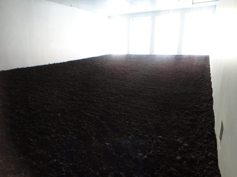 Walter de Maria – The New York Earth Room, 1977, 197 m³ (250 yd³) earth, 335 m2 (3,600 sqft) floor space, 56 cm (22 in) depth of material, 127,300 kg (280,000 lb), 141 Wooster Street, New York City