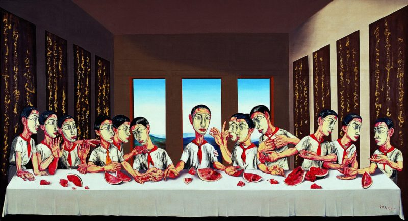 Zeng Fanzhi – The Last Supper, 2001, oil on canvas, 220 x 395 cm (86 x 155½ in.)