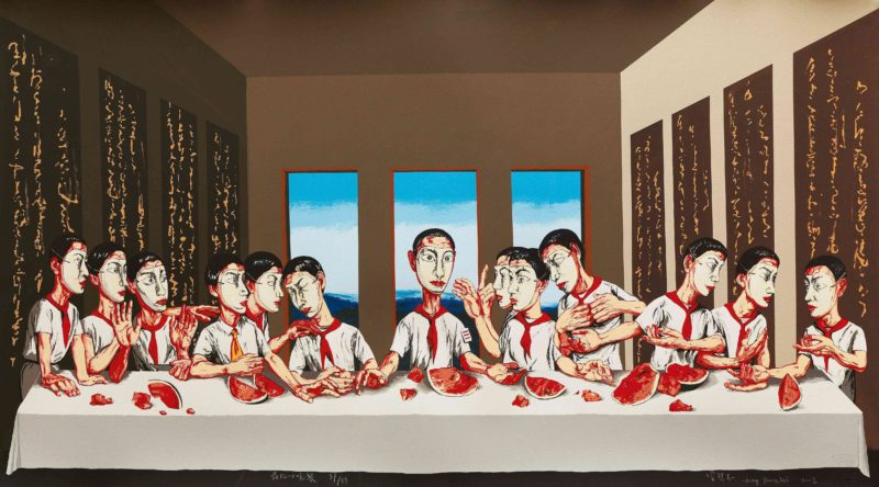 Zeng Fanzhi – The Last Supper, 2002, lithograph, edition of 89, 66 x 120.5 cm (26 x 47½ in.)