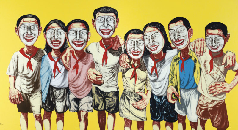 Zeng Fanzhi - Mask Series 1996 No. 6, 1996, oil on canvas diptych, 200 x 360 cm. (78 3/4 x 141 3/4 in.)