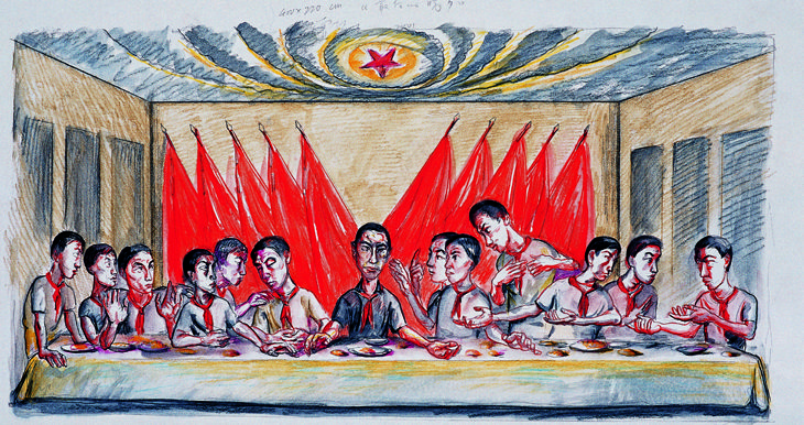 Zeng Fanzhi - The Last Supper Drawing, 2001, Watercolour on paper 26 x 50 cm