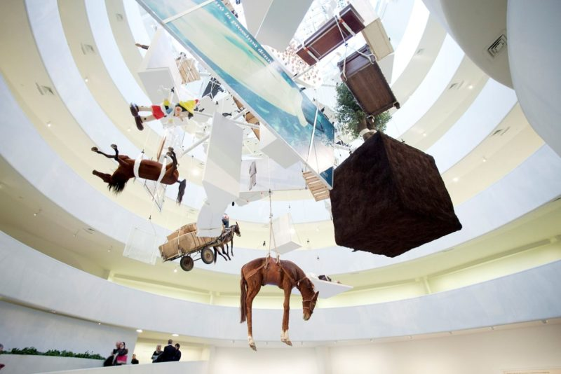Maurizio Cattelan - Novecento (1900), 1997, part of his exhibition All at Guggenheim Museum, New York, 2011-2012