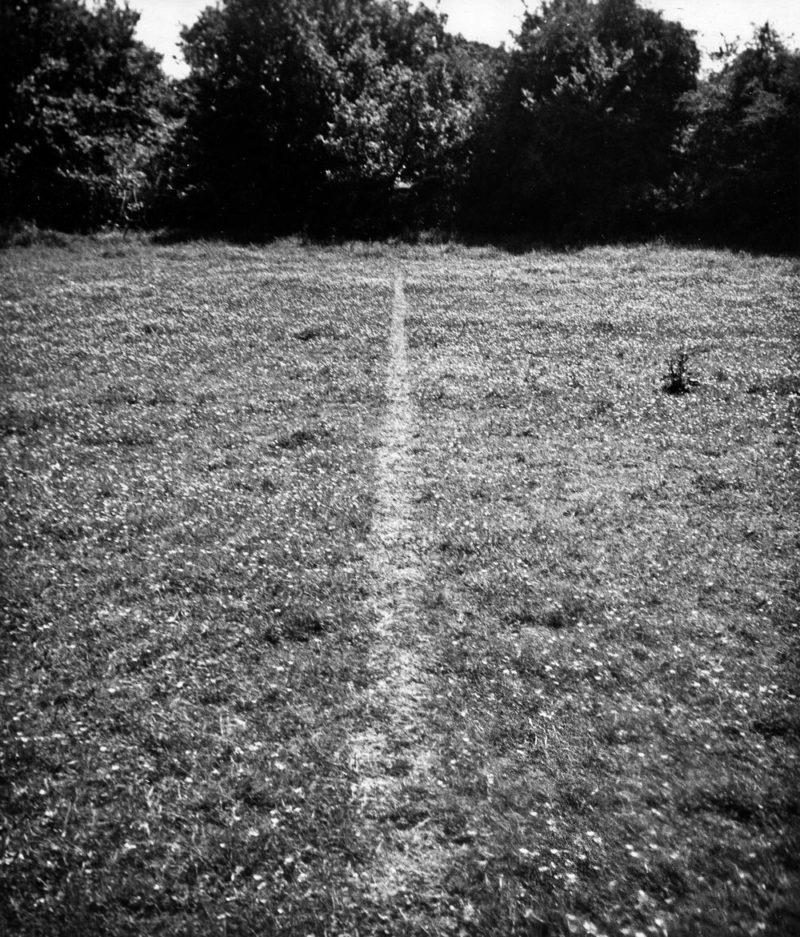 Richard Long – A Line Made by Walking, 1967, photograph, gelatin silver print on paper and graphite on board, image size 375 x 324 mm