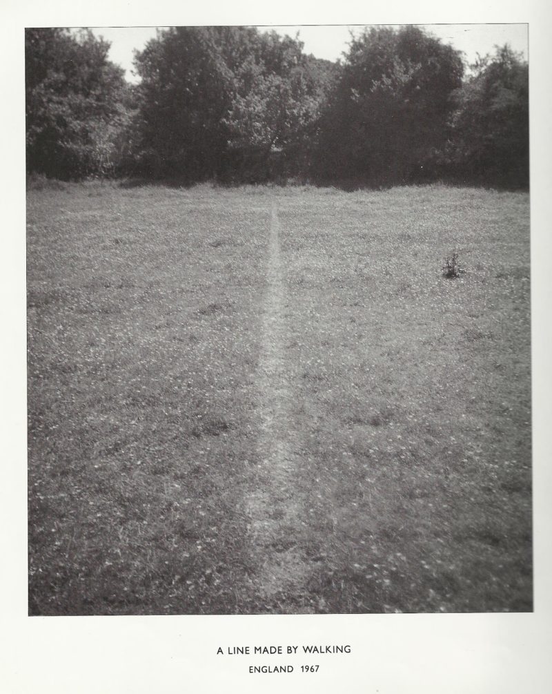 Richard Long - A Line Made by Walking, 1967, photograph, gelatin silver print on paper and graphite on board, image size 375 x 324 mm