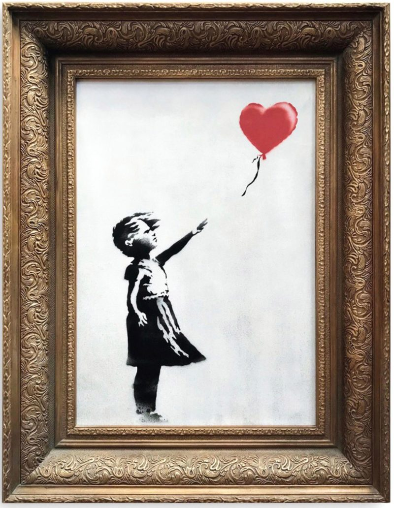 Banksy - Girl with balloon, 2006, spray paint and acrylic on canvas, mounted on board, in artist's frame, 101 x 78 x 18 cm (39 3/4 by 30 3/4 by 7 in)