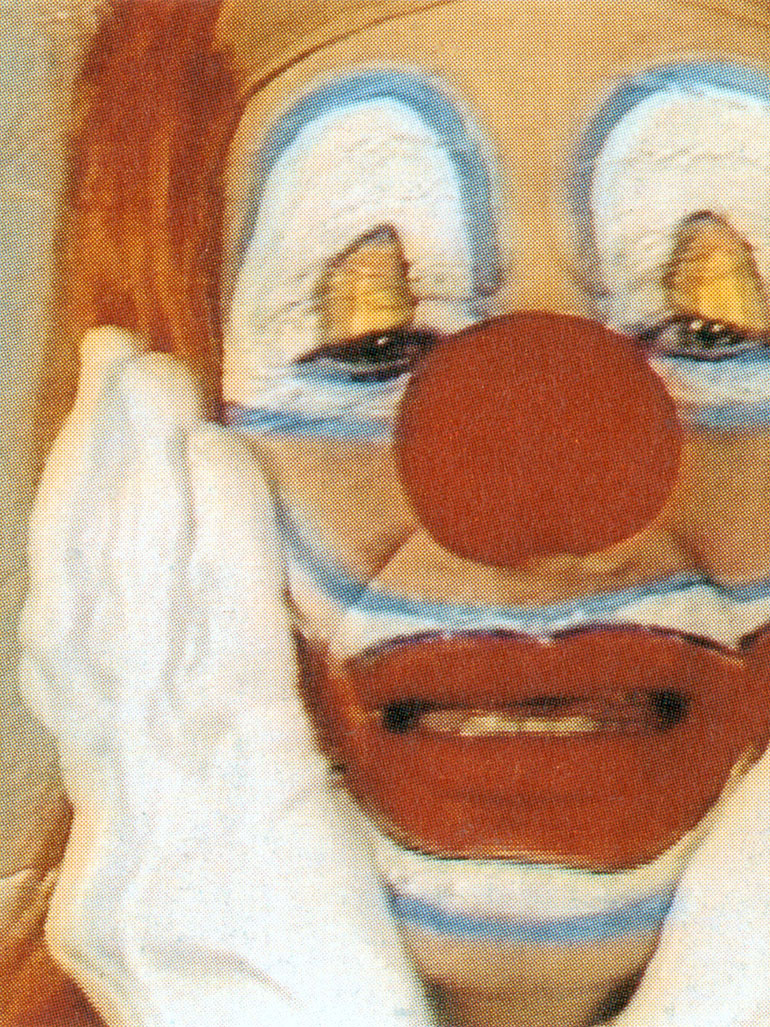 Bruce Nauman - Clown Torture, 1987, four-channel video installation, two projections, four monitors, color, sound, approx. 60 minutes, Collection of the Art Institute of Chicago