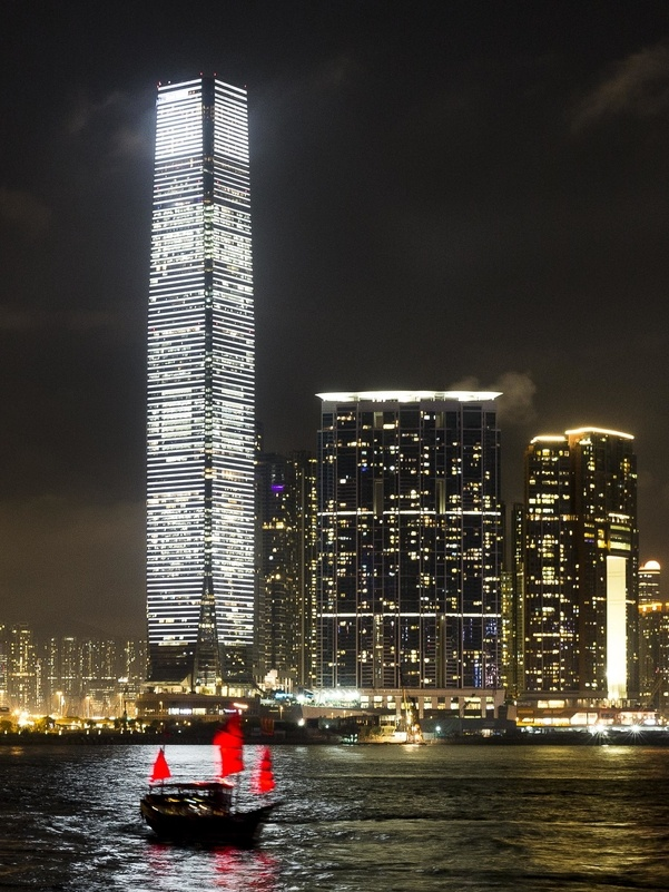 Carsten Nicolai's artwork dominates Hong Kong's skyline