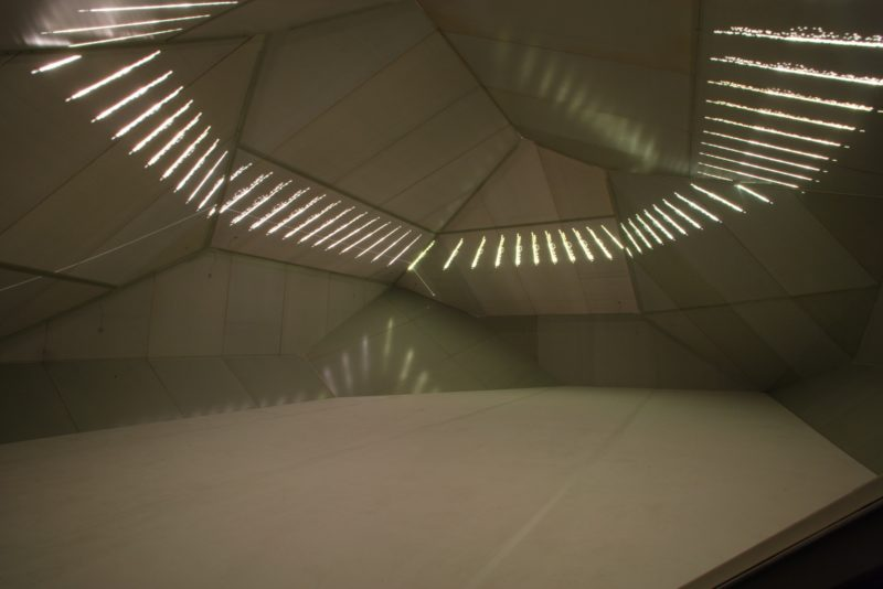 Carsten Nicolai - syn chron, 2004, lightweight structure, steel, aluminum, laser projection, sound system, rubber, 1250 x 800 x 460 cm, installation view, Yamaguchi Center for Arts and Media (YCAM), Japan
