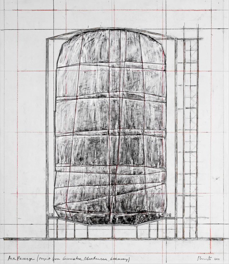 Christo - Air Package, 2011, collage, pencil, charcoal, pastel, wax crayon, fabric, polyethylene, twine and cut-out cardboard 30 1/2 x 26 1/4 (77.5 x 66.7 cm)